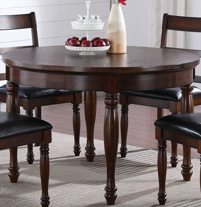 "Brown Traditional 5 Piece Round Dining Set Cally: Breckenridge Brown 48"" Round Dining Room Set, ZBRG-8080"