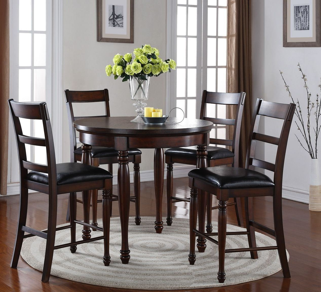 Breckenridge brown 42 round counter height dining room for Brown dining room set