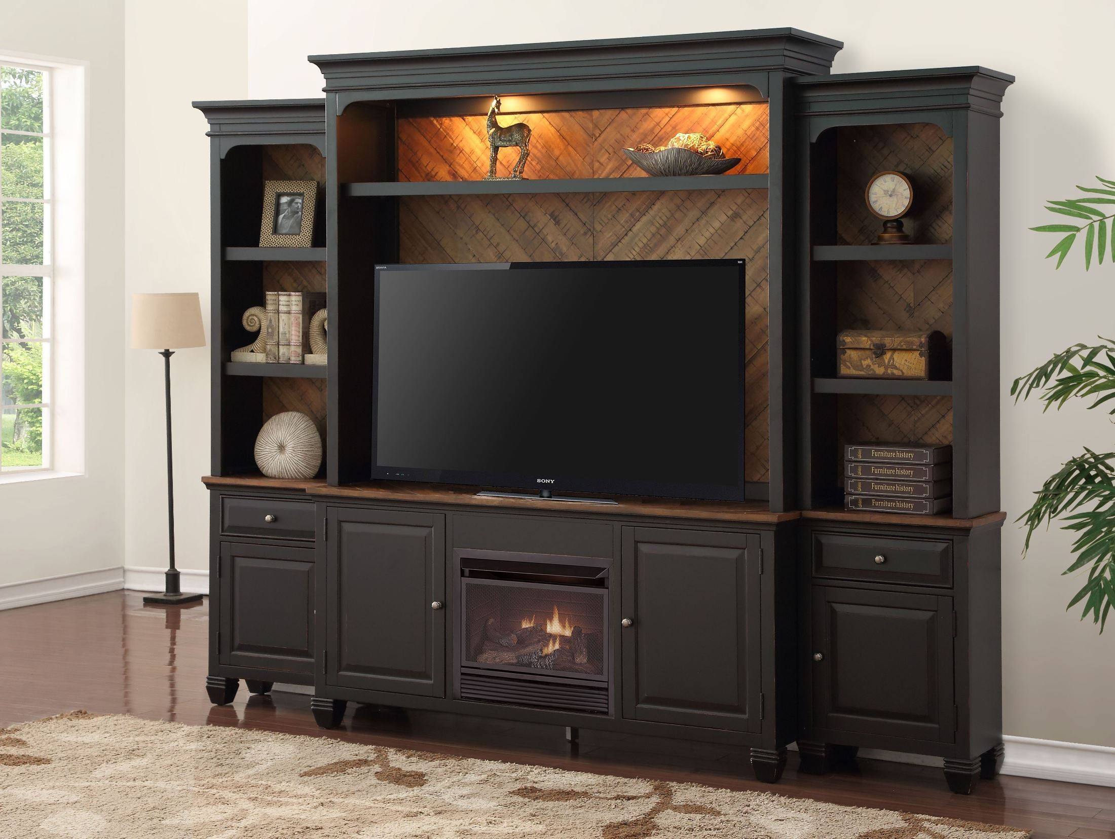 Brighton Heirloom Black Fireplace Entertainment Wall From