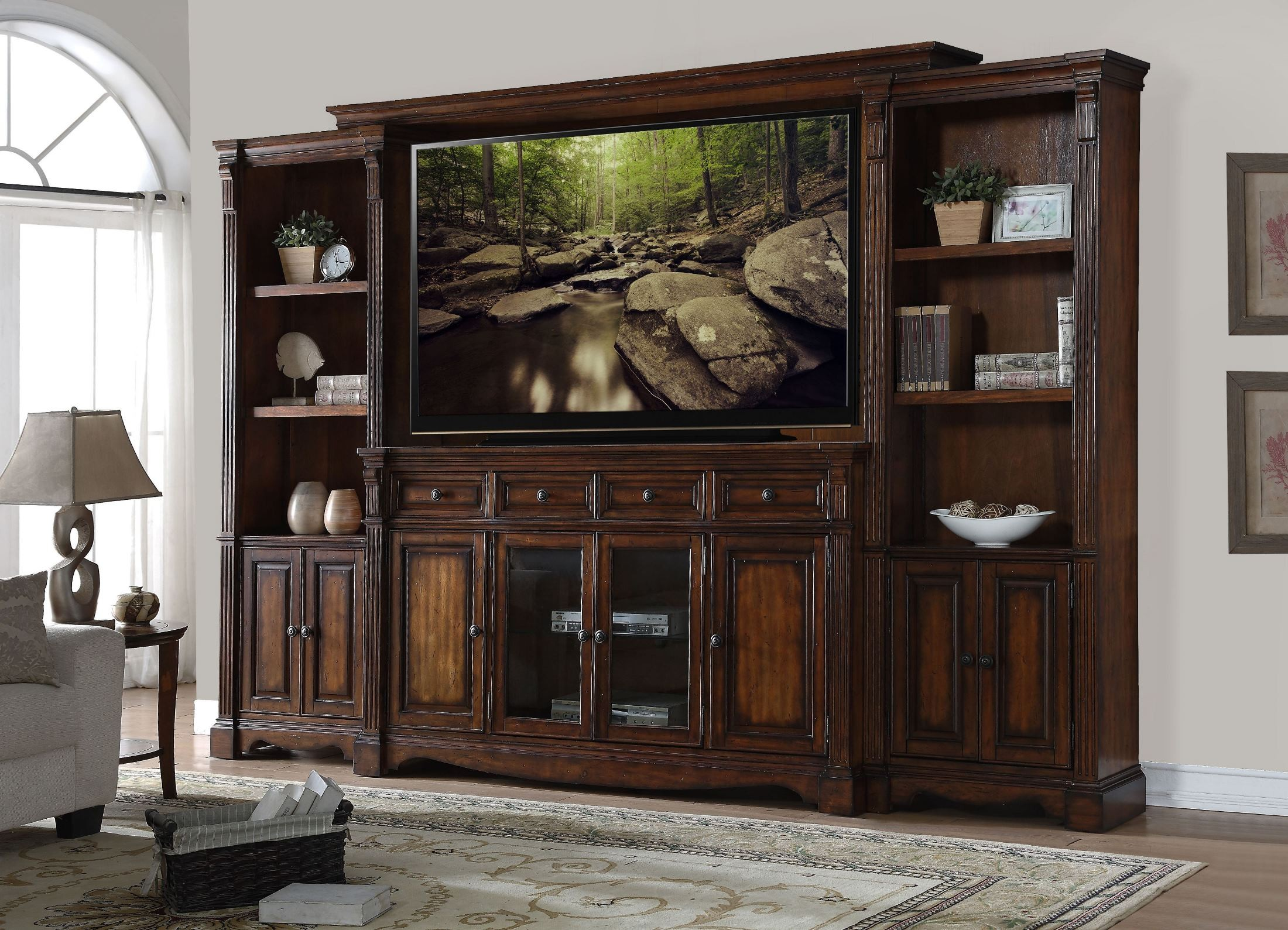 Parliament Brown Entertainment Wall Unit From Legends