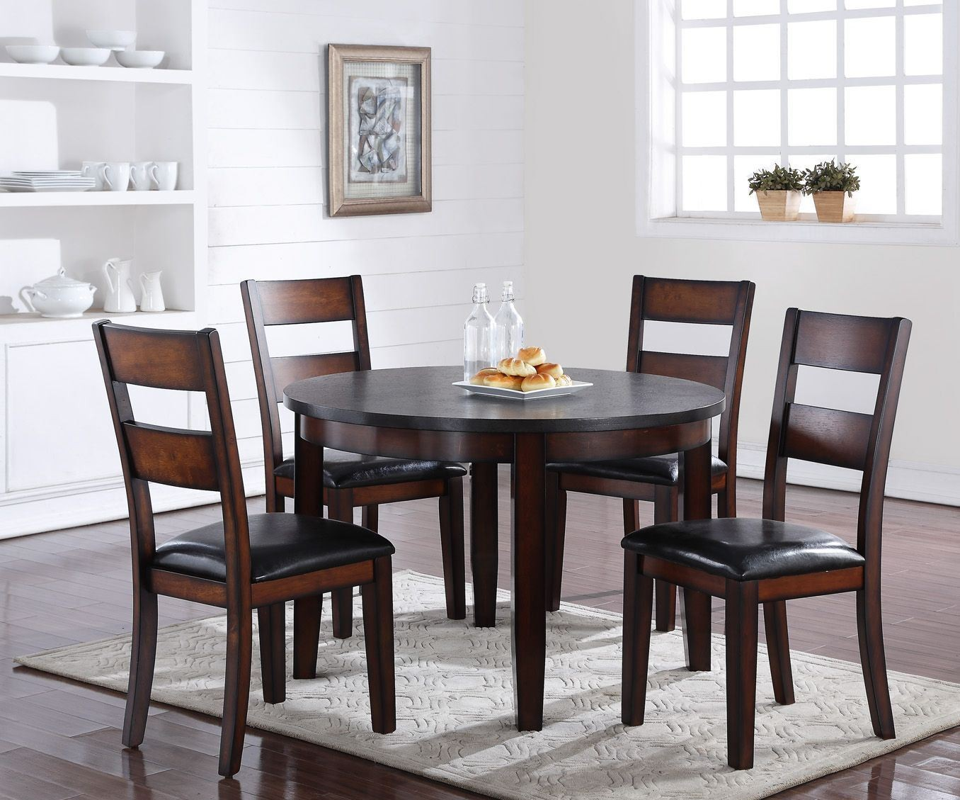 Rockport brown 48 round dining room set from legends for Brown dining room set