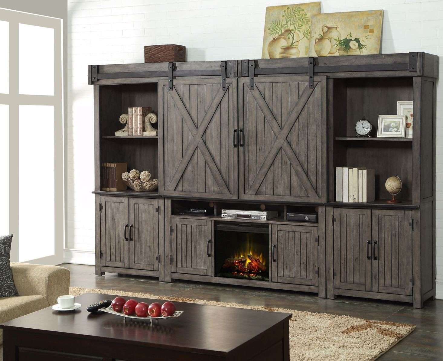 Storehouse Gray Entertainment Wall Unit with Fireplace