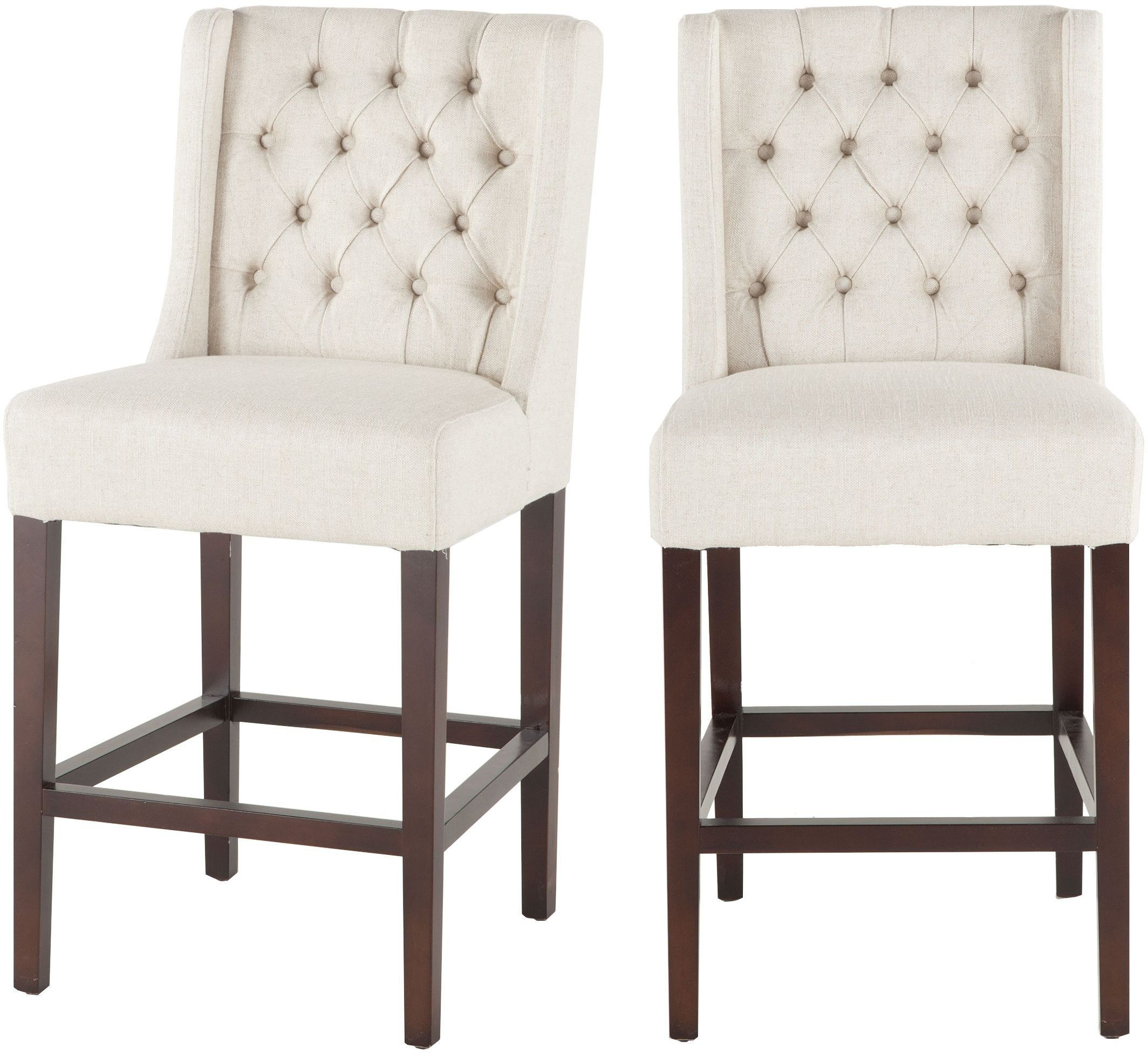 Chloe Off White Linen Tufted Counter Height Stool Set Of 2