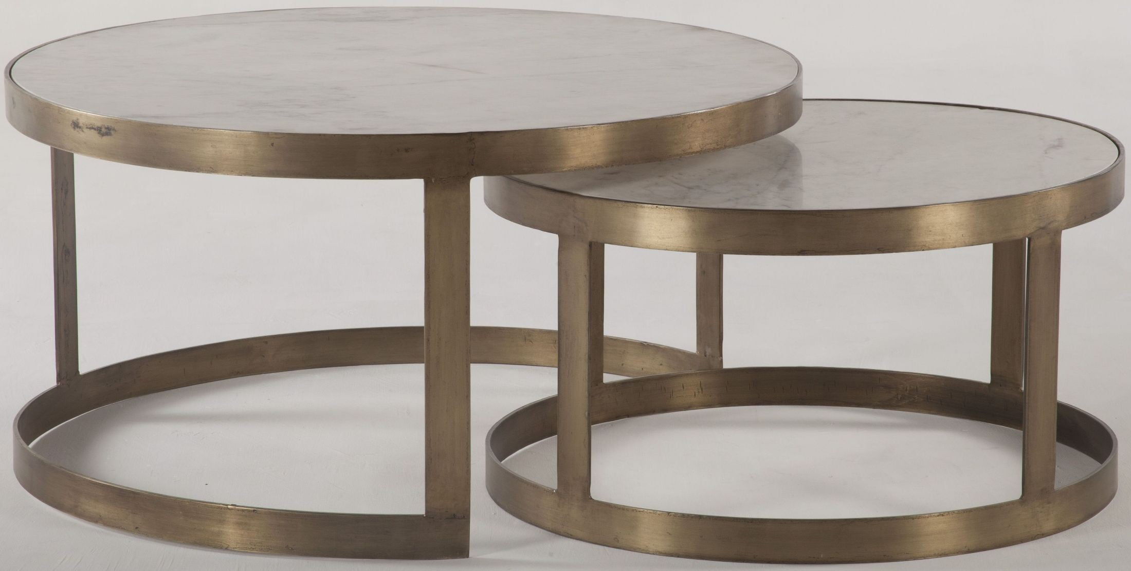 Leonardo white and antique gold nesting coffee tables set for White nesting coffee table