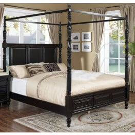 martinique rubbed black canopy bedroom set with drapes - Canopy Bedroom Sets