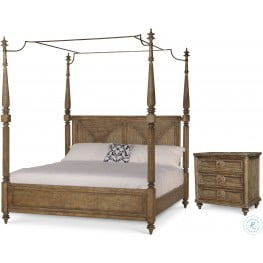 Pavilion Brown King Poster Bed With Canopy And Posts