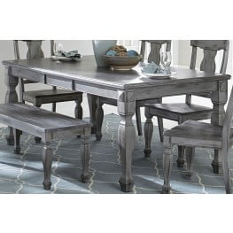 Fulbright Gray Rub Through Extendable Dining Room Set