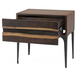 ... Prana Seared Wood 1 Drawer Side Table