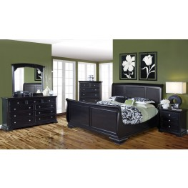 Maryhill Rubbed Black Sleigh Bedroom Set