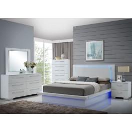 Sapphire High Gloss White Laminate Platform Bedroom Set