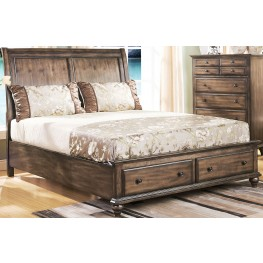 Fallbrook Weathered Brown Cal. King Sleigh Storage Bed