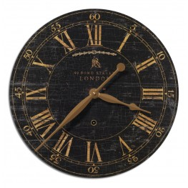 "Bond Street 18"" Black Wall Clock"