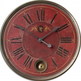 "Regency Villa Tesio 23"" Red Wall Clock"