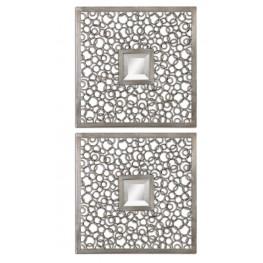 Colusa Squares Silver Mirror Set of 2