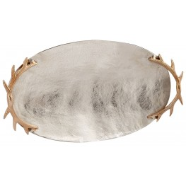 Large Nickel Oval Horn Handle Tray