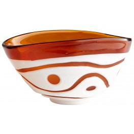 Large Amber and White Dotty Bowl