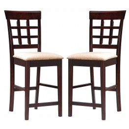 "100209 Mix & Match Cappuccino/Soft Mocha 24""H Bar Stool Set of 2"