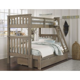 Highlands Harper Driftwood Twin Over Full Bunk Bed With Trundle