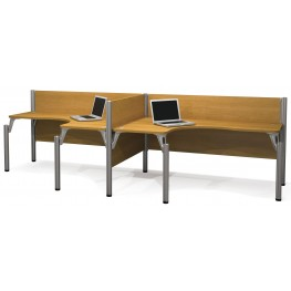 Pro-Biz Cappuccino Cherry Double Side-by-Side L-Desk Workstation