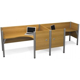 Pro-Biz Cappuccino Cherry Double Side-by-Side Partition L-Desk Workstation