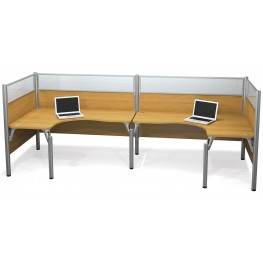Pro-Biz Cappuccino Cherry Double Back to Back Glass Panel L-Desk Workstation