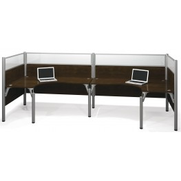 Pro-Biz Chocolate Double Back to Back Glass Panel L-Desk Workstation