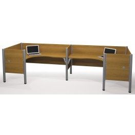 Pro-Biz Cappuccino Cherry Double Back to Back Partition L-Desk Workstation