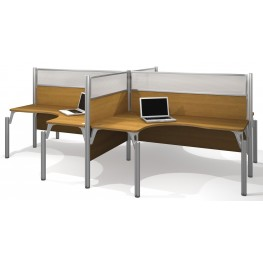 Pro-Biz Cappuccino Cherry Four Glass Panel L-Desk Workstation