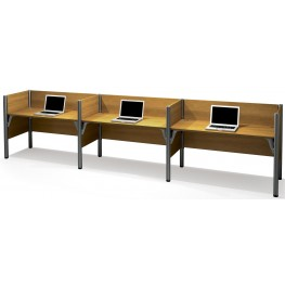 Pro-Biz High melamine Cappuccino Cherry Triple Side-by-Side Workstation