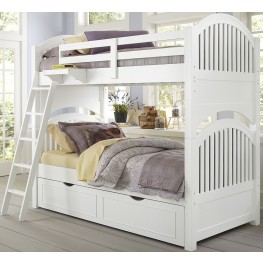Lake House White Adrain Twin Over Twin Bunk Bed With Trundle