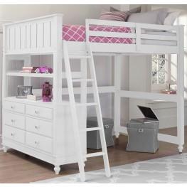 Lake House White Full Loft Bed