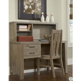 Highlands Driftwood Desk with Hutch And Chair