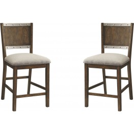 Beckett Dark Oak Upholstered Counter Height Stool Set of 2