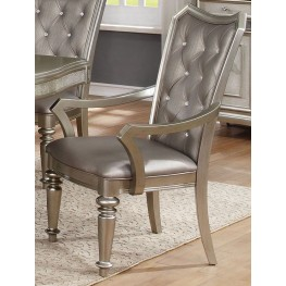 Danette Metallic Platinum Upholstetred Arm Chair Set of 2