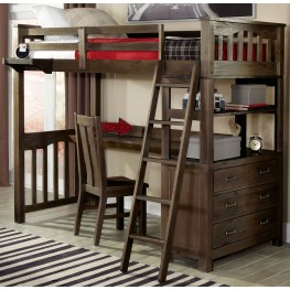Highlands Espresso Twin Loft Bed with Desk