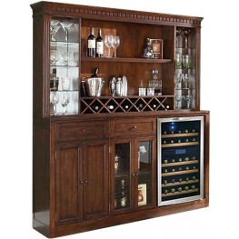 Manchester Distressed Walnut Back Bar with Hutch