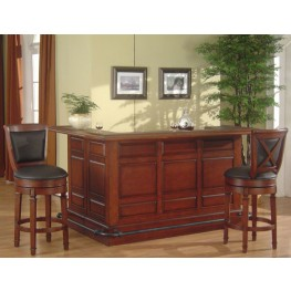 Manchester Distressed Walnut Raised Panel Return Bar Set