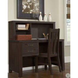 Highlands Espresso Desk with Hutch And Chair
