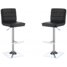 Black Upholstered Adjustable Bar Stool Set of 2