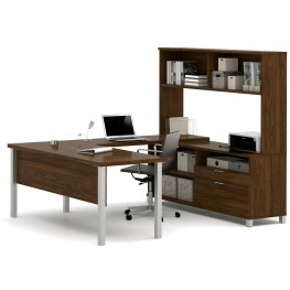 Pro-Linea Oak Barrel U-Desk With Hutch