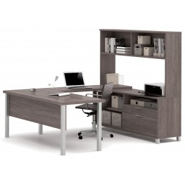 Pro-Linea Bark Grey U-Desk With Hutch