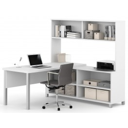 Pro-Linea White L-Desk With Hutch