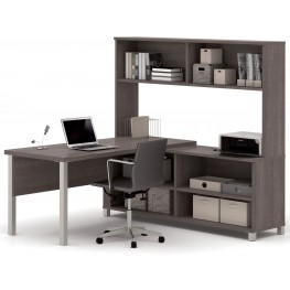 Pro-Linea Bark Grey L-Desk With Hutch