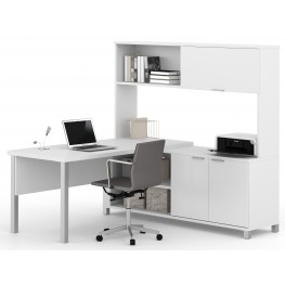 Pro-Linea White Door L-Desk With Hutch