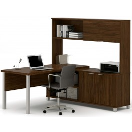 Pro-Linea Oak Barrel Door L-Desk With Hutch