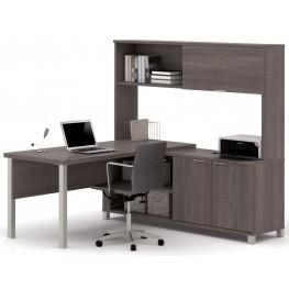 Pro-Linea Bark Grey Door L-Desk With Hutch