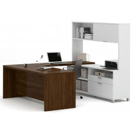 Pro-Linea White & Oak Barrel U-Desk With Hutch