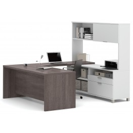 Pro-Linea White & Bark Grey U-Desk With Hutch
