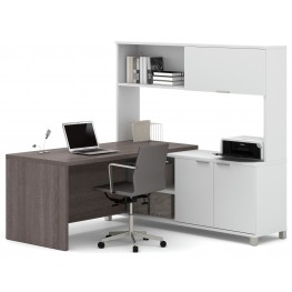 Pro-Linea White & Bark Grey Door L-Desk With Hutch