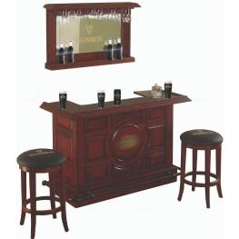 Guinness Distressed Walnut Raised Panel Bar Set